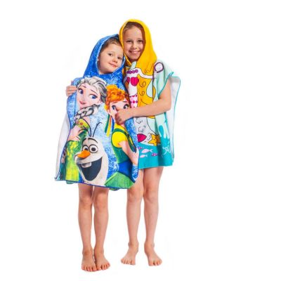 Hooded towel poncho for kids, Frozen and Mermaid Blonde